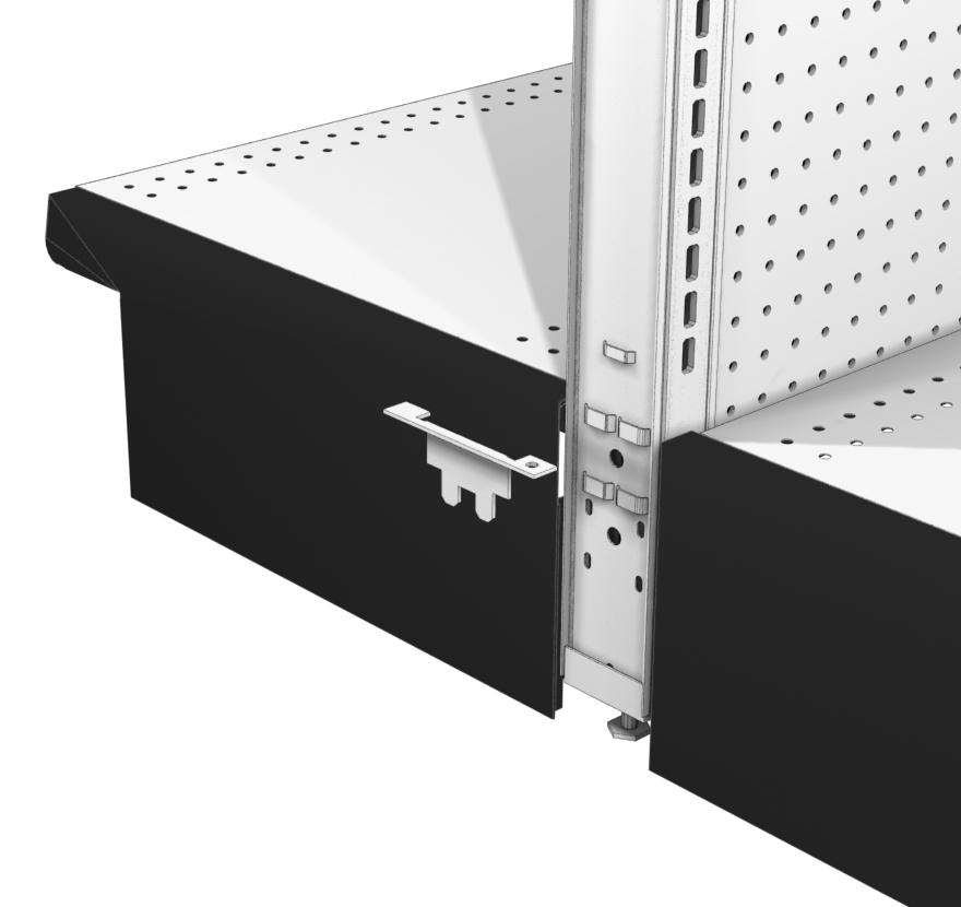 Gondola End Caps Heavy Duty End Merchandising Panel Bottom Support Lozier