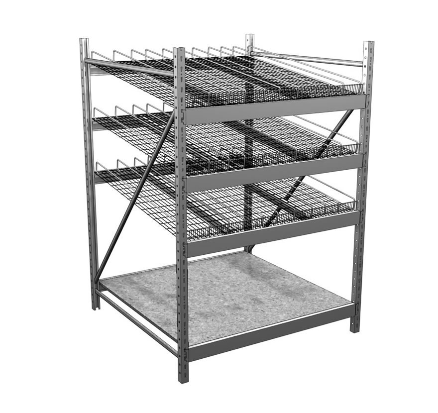 Industrial Shelving Gravity Flow Wiregrid Gallery Lozier
