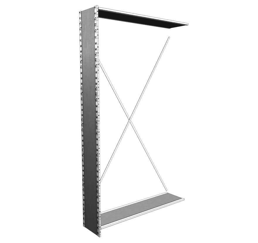 Industrial Shelving S-Series Closed Uprite with Crossbrace Lozier