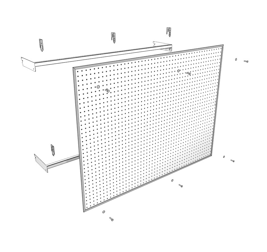 Extended Pegboard Panel Assembly