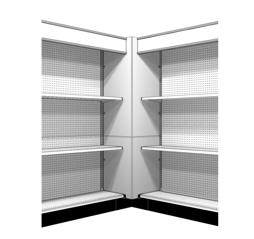 Box Corner with Canopy Lozier Retail Shelving