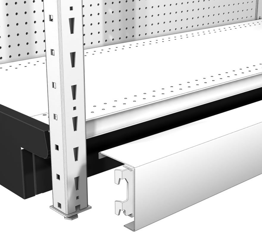 Multi-Function Kickplate Beams Lozier Retail Shelving